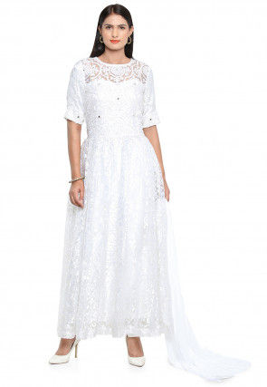 Embroidered Net Brasso Abaya Style Suit in White