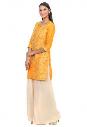 Embroidered Net Brasso and Cotton Silk Kurta with Palazzo in Mustard