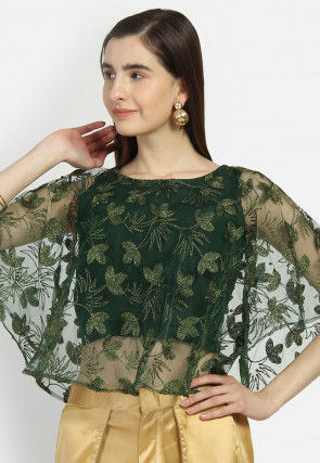 Embroidered Net Cape Style Crop Top in Dark Green