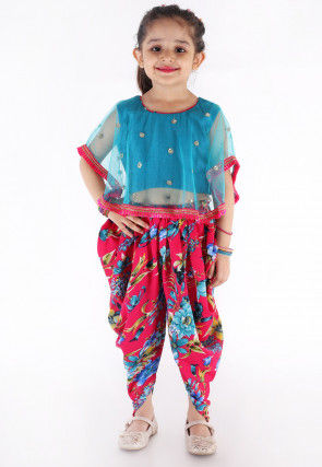 Embroidered Net Cape Style Top N Dhoti Pant in Blue and Fuchsia