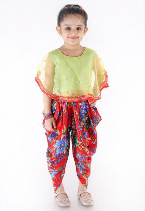 Embroidered Net Cape Style Top N Dhoti Pant in Green and Red