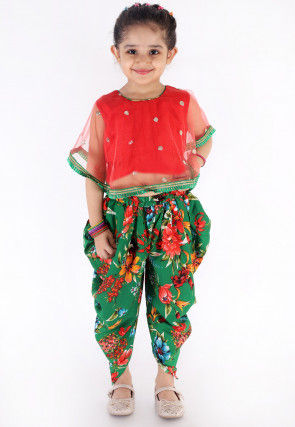 Embroidered Net Cape Style Top N Dhoti Pant in Red and Green