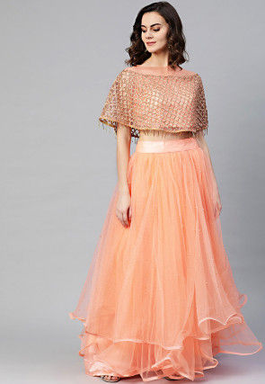 Embroidered Net Cape Top with Skirt in Peach