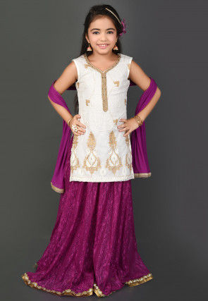 Embroidered Net Chantelle Lehenga in Off White and Purple
