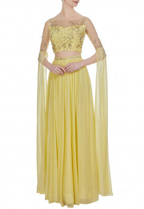 Embroidered Net Crop Top Set in Yellow