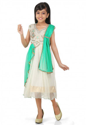 Embroidered Net Dress in Off White and Sea Green
