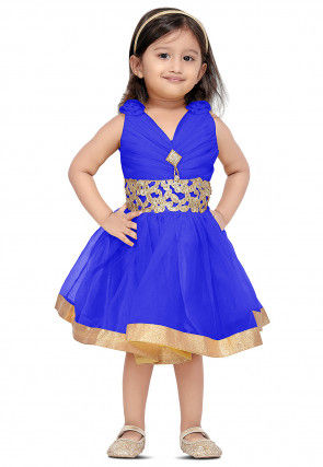 Embroidered Net Dress in Royal Blue