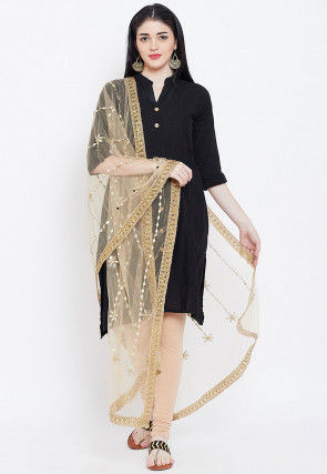 Embroidered Net Dupatta in Beige