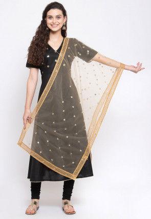 Embroidered Net Dupatta in Beige