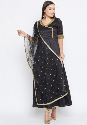 Embroidered Net Dupatta in Black