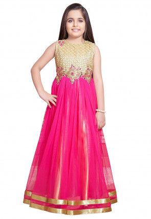 Embroidered Net Flared Gown in Fuchsia and Cream