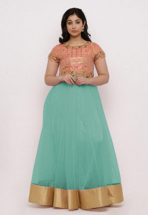 Embroidered Net Flared Gown in Light Blue and Peach