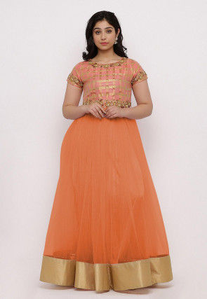 Embroidered Net Flared Gown in Orange and Peach