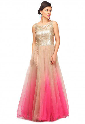 Embroidered Net Flared Gown in Shaded Peach and Pink
