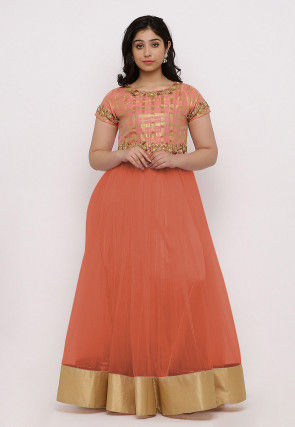 Embroidered Net Flared Gown Set in Orange and Peach