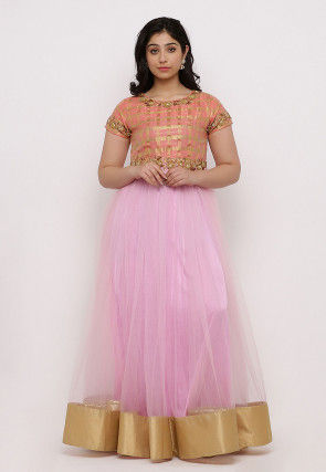 Embroidered Net Flared Gown Set in Pink and Peach
