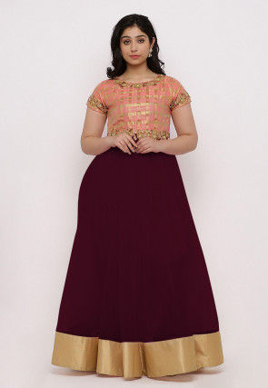 Embroidered Net Flared Gown Set in Wine and Peach