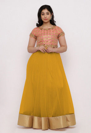 Embroidered Net Flared Gown Set in Yellow and Peach