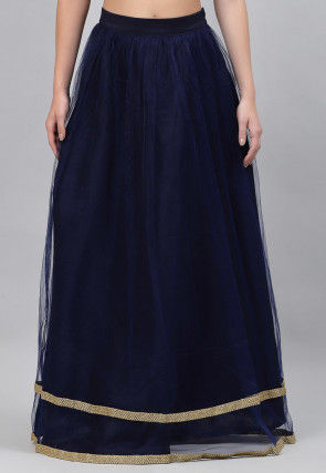 Embroidered Net Flared Skirt in Navy Blue