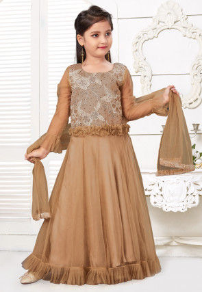 Embroidered Net Frilled Abaya Style Suit in Beige