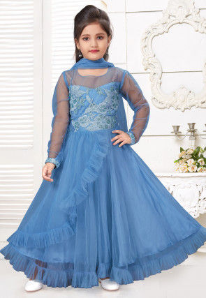 Embroidered Net Frilled Abaya Style Suit in Blue