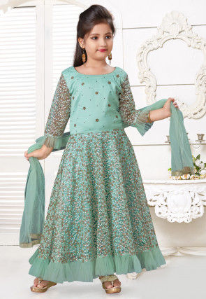 Embroidered Net Frilled Abaya Style Suit in Sea Green