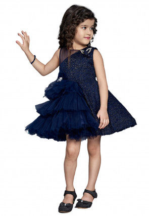 Embroidered Net Frilled Dress in Navy Blue