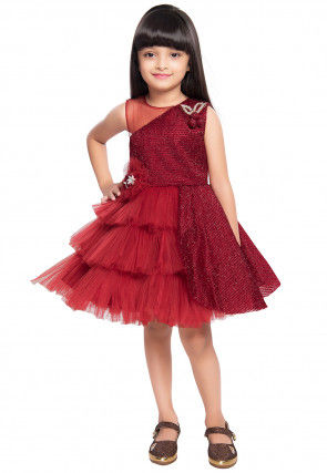 Embroidered Net Frock in Maroon