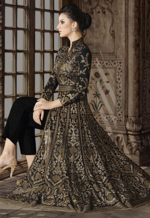 Embroidered Net Front Slit Abaya Style Suit in Black