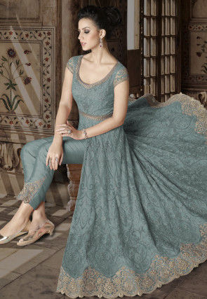 Embroidered Net Front Slit Abaya Style Suit in Dusty Blue