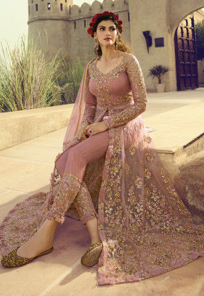 Embroidered Net Front Slit Abaya Style Suit in Dusty Pink