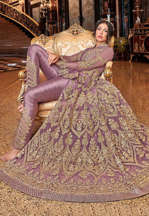 Embroidered Net Front Slit Abaya Style Suit in Light Purple