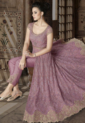 Embroidered Net Front Slit Abaya Style Suit in Pink