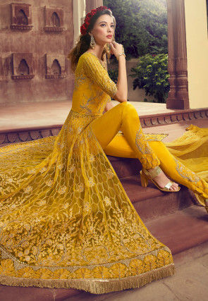 Embroidered Net Front Slit Abaya Style Suit in Mustard