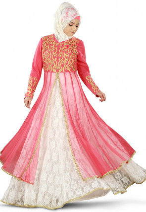 Embroidered Net Front Slit Layered Abaya Pink and Off White