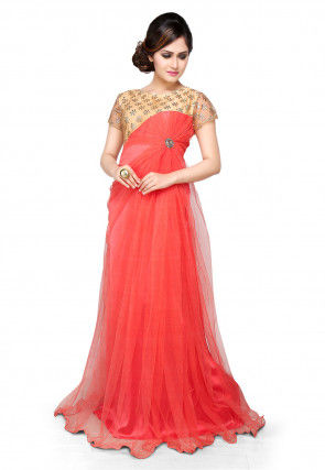 Embroidered Net Gown In Coral and Beige