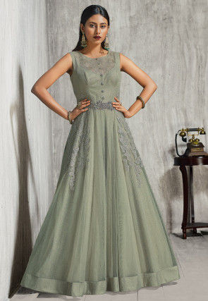 Embroidered Net Gown in Dusty Green