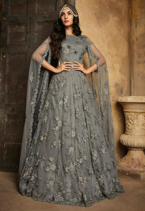 Embroidered Net Gown in Grey