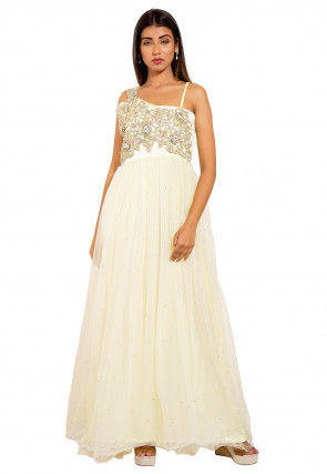Embroidered Net Gown in Cream