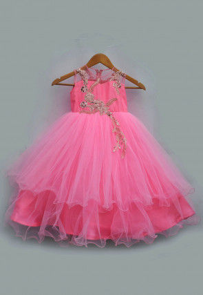 Embroidered Net Gown in Pink