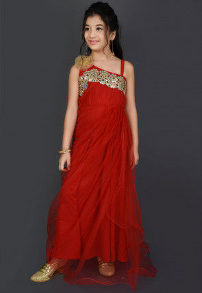 Embroidered Net Gown in Red