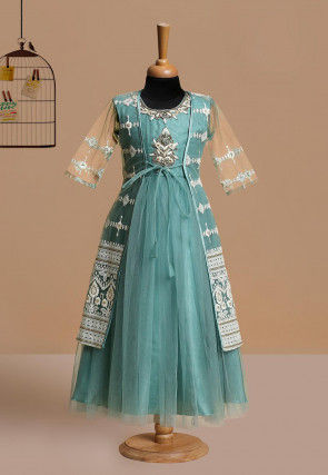 Embroidered Net Gown with Jacket in Teal Blue