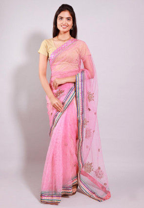 Embroidered Net Half N Half Saree in Pink
