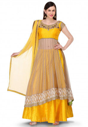 Embroidered Net Jacket Style Lehenga in Beige and Yellow