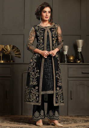 Embroidered Net Jacket Style Pakistani Suit in Black