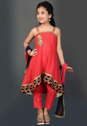 Embroidered Net Jacquard Asymmetric Suit in Red