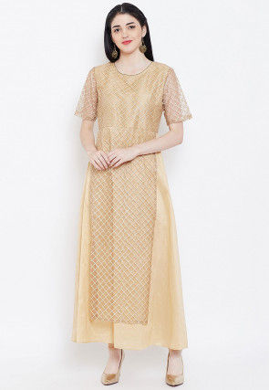 Embroidered Net Layered A Line Kurta in Beige