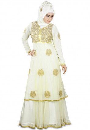 Embroidered Net Layered Abaya Cream