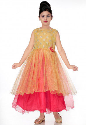 Embroidered Net Layered Gown in Beige and Coral Pink