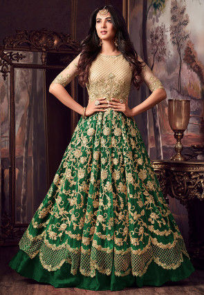 Embroidered Net Lehenga in Beige and Dark Green